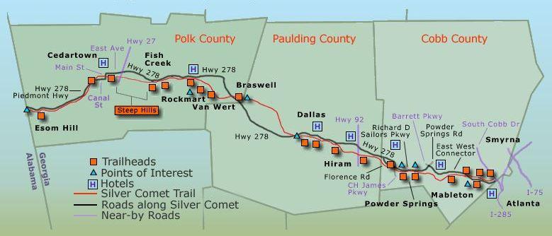 Map Of The Silver Comet Trail Smyrna GA